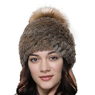 1e2ff8c86cfb13 URSFUR Frauen Weiche Warme Kaninchen Fell Mütze mit Fellbommel aus Waschbär  Baskenmütze Strickmütze -braun
