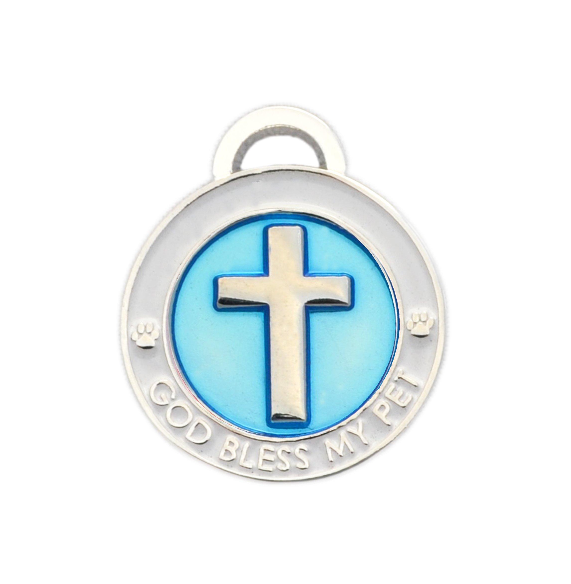 Luxepets Pet Collar Charm, Cross, Small, Blue