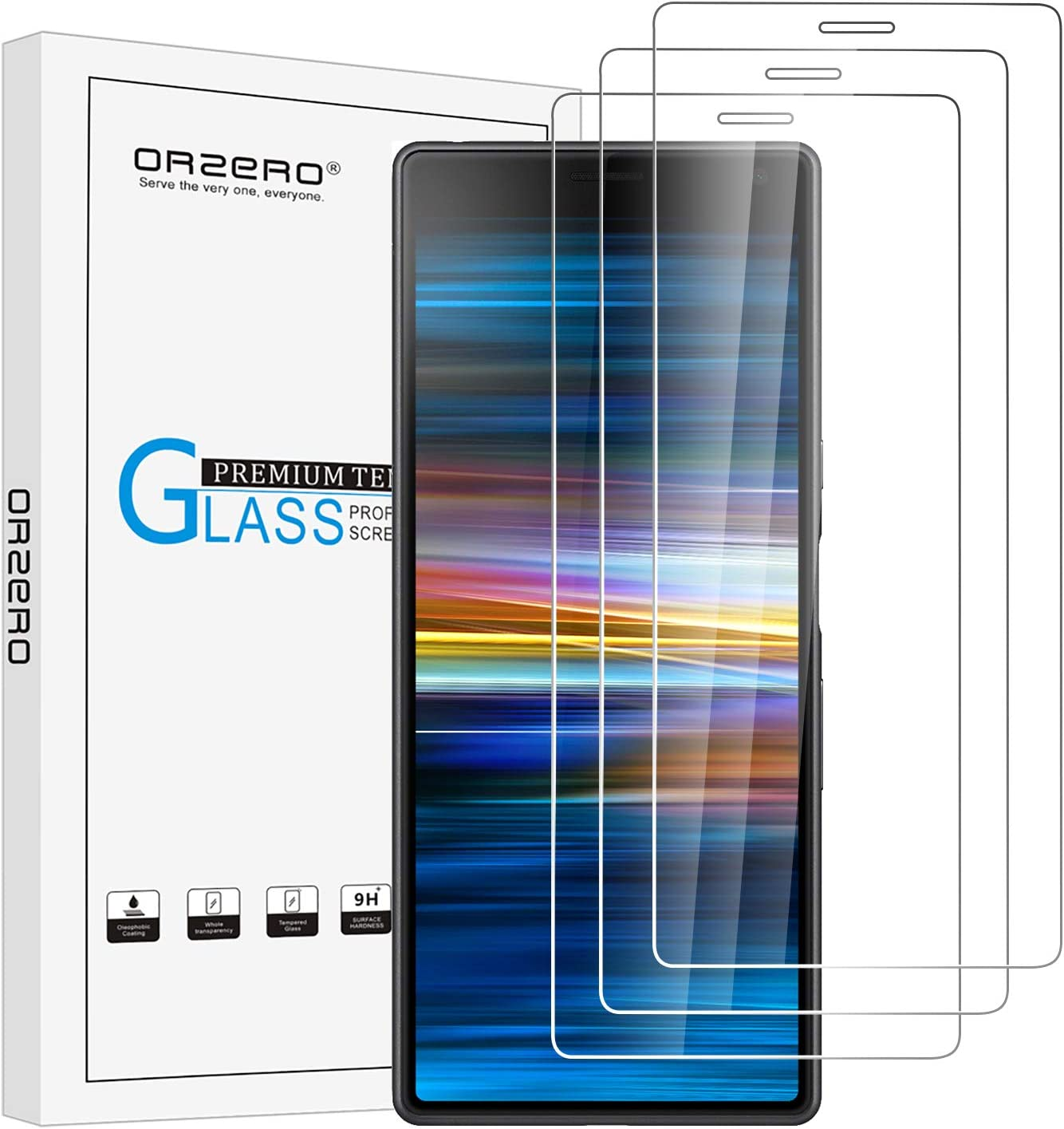 ZYS Screen Protector 25 PCS 9H 3D Curved Full Screen Tempered Glass Film for Sony Xperia 10