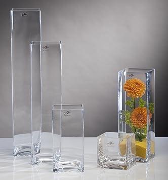 Glasvase Glas Vase Blumenvase Tischvase Bodenvase Quadrat Gross 50 Cm