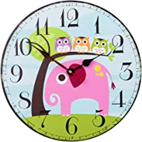 SkyNature Colorful Decorative Wooden Wall Clock Silent Non- ticking for Kid's Room (12 inch Elephant)