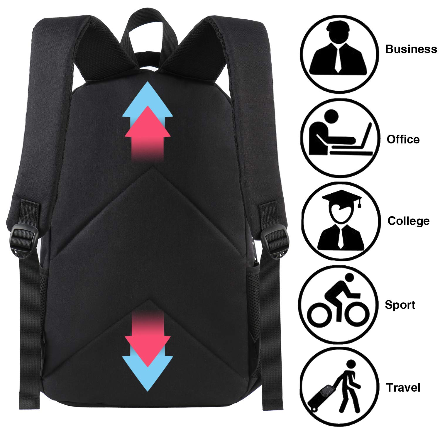 with Anti Theft Bag /& Charging Port Water Resistant for 15.6 Notebook-Black MATEIN 15 Inch Student Laptop Backpack
