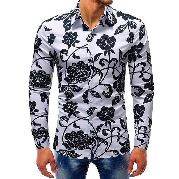 Camisa Casual para Hombre,ZARLLE Camisa ImpresióN Hombre Estampada Floral Manga Larga Vestir Casual Blusa