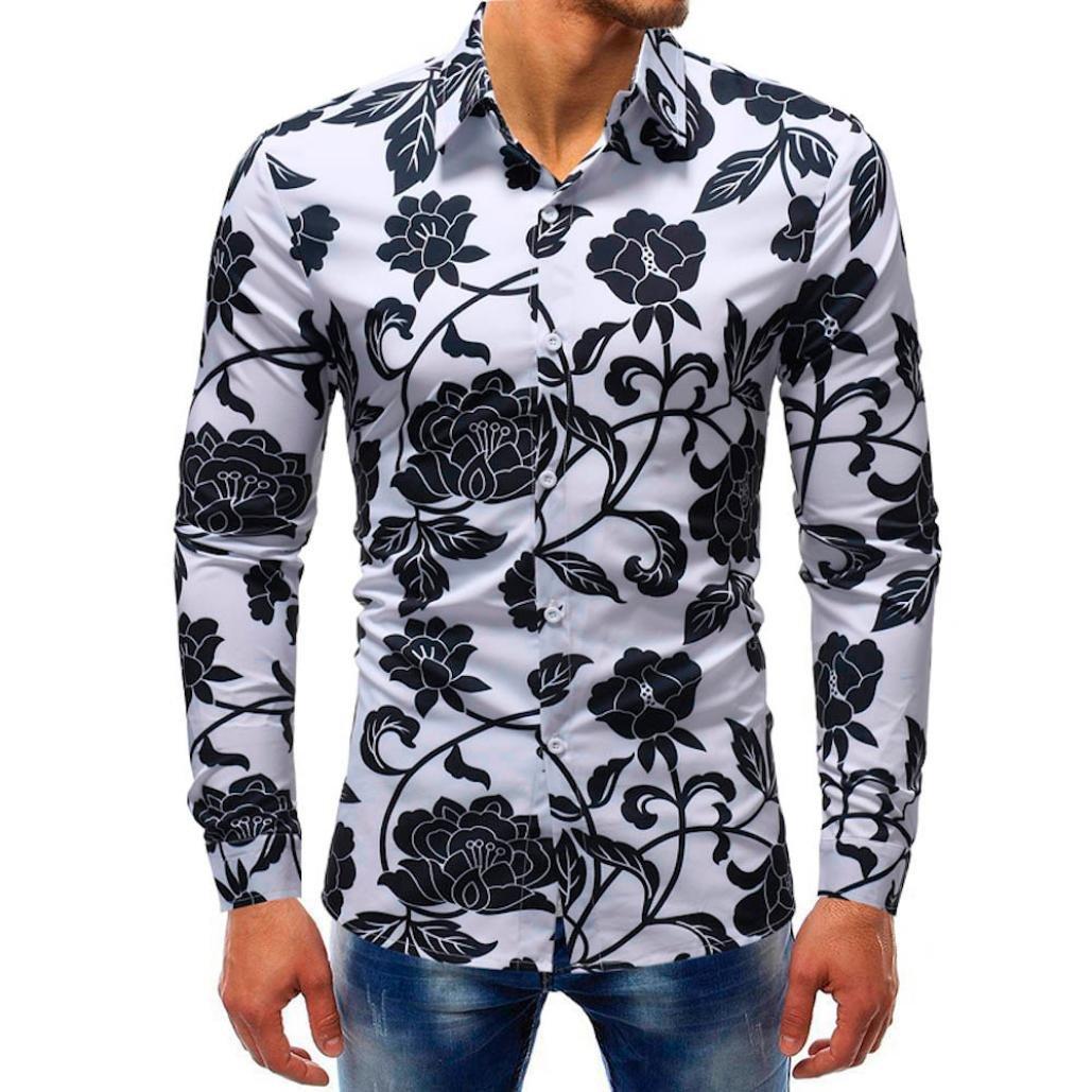 iLXHD Man Fashion Printed Blouse Casual Long Sleeve Slim Shirts Tops (2XL, Multicolor 9) by iLXHD (Image #1)