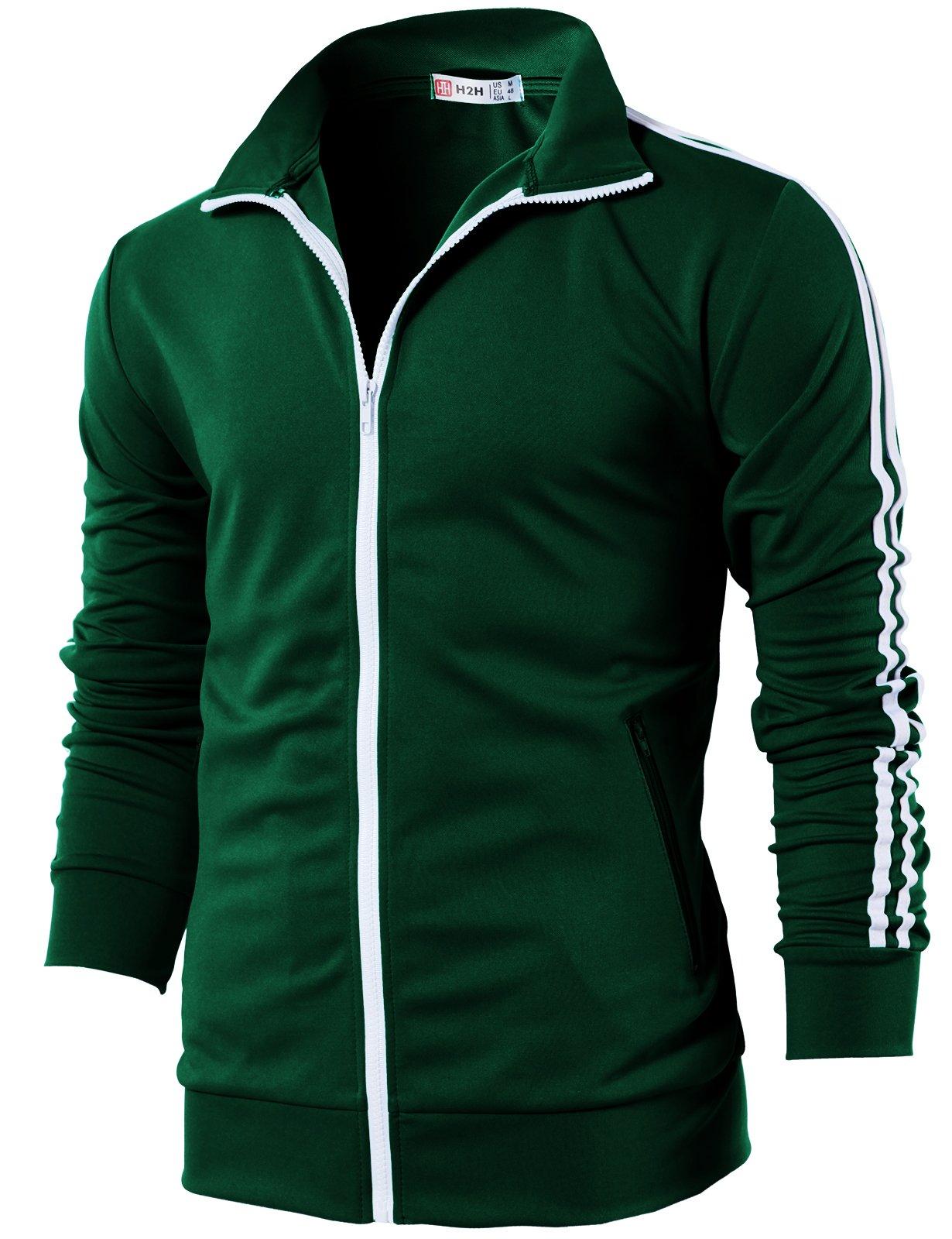 H2H Mens Active Slim Fit Lightweight Line Training Full Zip-up Jacket DarkGreen US M/Asia L (CMOJA0103)