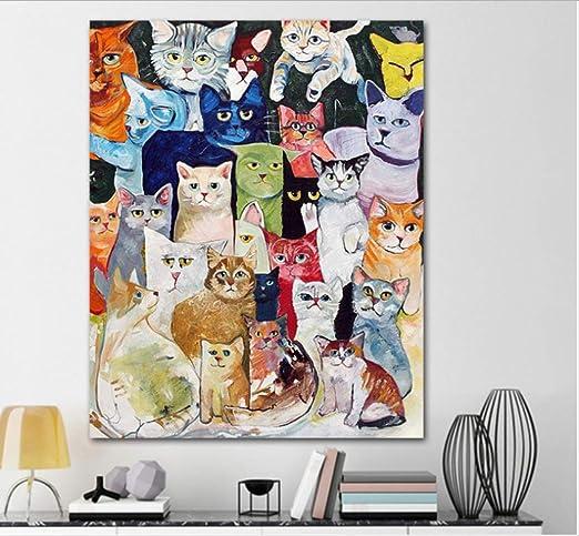 YuHan Wei Paint by Numbers Kit con Pinceles Y Pinturas-Pintura por Números para Adultos O Niños Regalos-16 * 20 Pulgadas- [Sin Marco] (Gatos): Amazon.es: Hogar