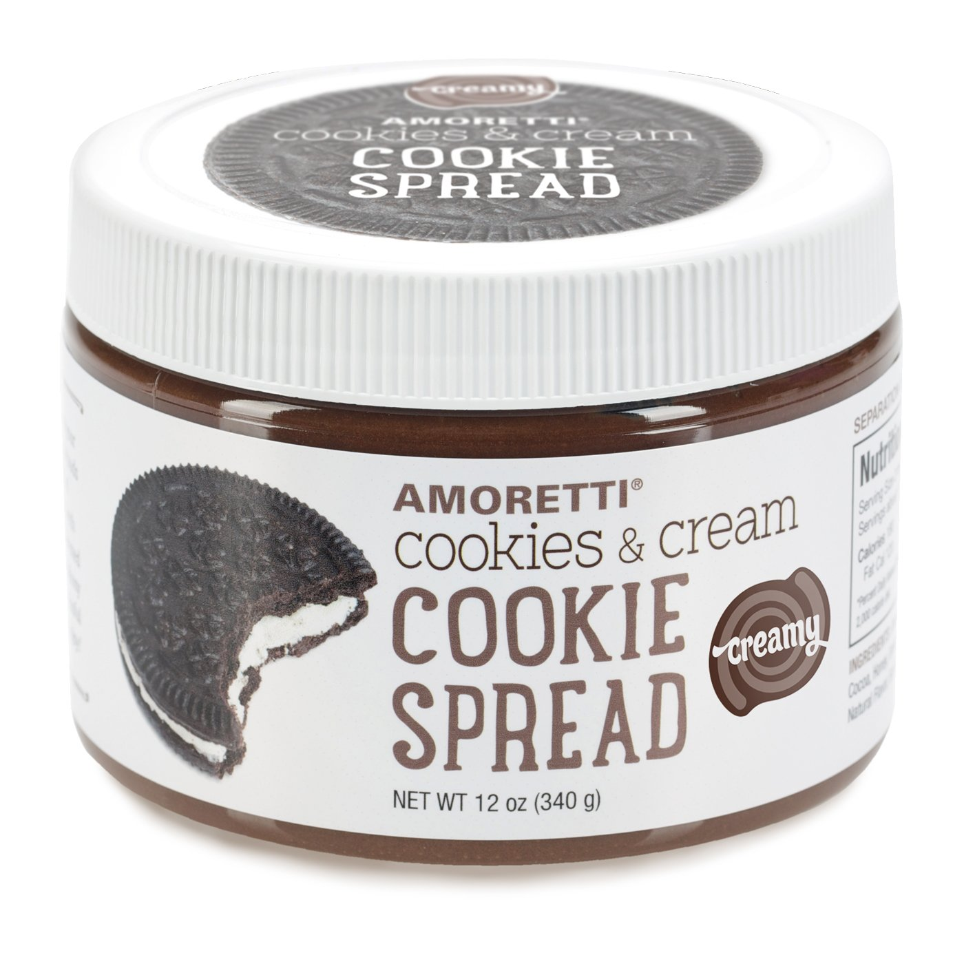 Amoretti Natural Creamy Cookies and Cream Cookie Spread, 12 Ounce
