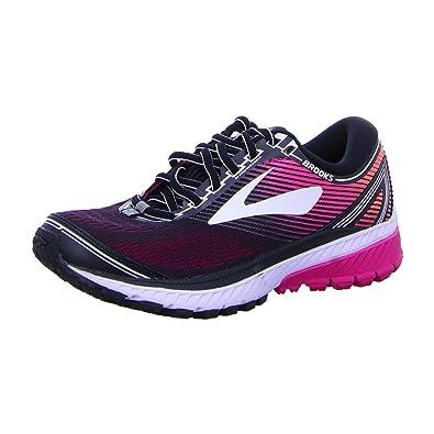 89f6e5e8cf1ae Brooks Womens Ghost 10 Running Shoe Black Pink Peacock Living Coral 9.5 B(