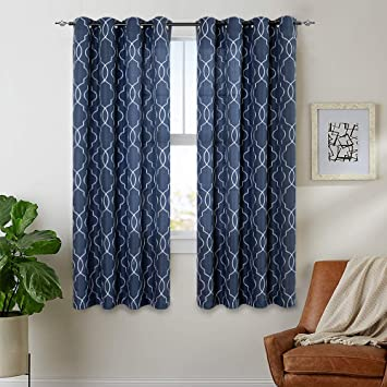 Navy Blue Moroccan Sheer Curtains Bedroom 63 inch Trellis Pattern  Embroidered Window Drapes Ring Top Living Room Casual Weave Textured Linen  Type ...