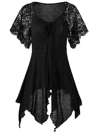 992c8e17201a6a Liyuandian Womens Plus Size Tunics Lace Short Sleeve Tops Handkerchief Tops  for Leggings Black