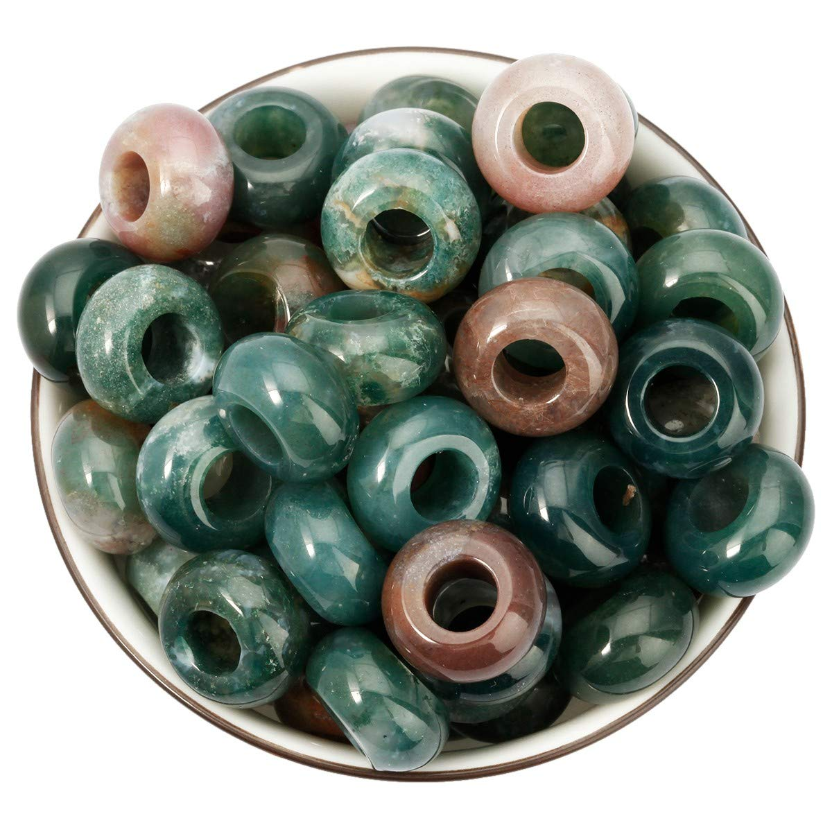 Polished Rondelle European Beads fit Charms Bracelet Nupuyai Large Hole Stone Loose Beads for Jewelry Making Pack of 30