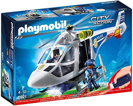 Oferta amazon: PLAYMOBIL City Action Helicóptero de Policía con Luces LED, a Partir de 4 Años (6921)