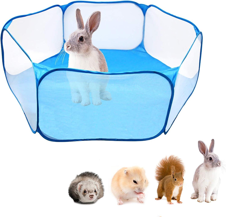 Tabpole - Parque de juegos para animales pequeños, portátil, abierto, para interiores y exteriores, para hámster, chinchillas y cobayas azul azul Talla:120cm