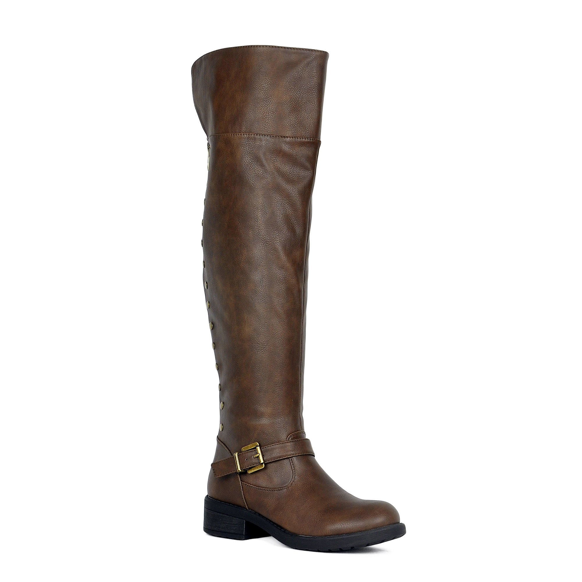 WestCoast Womens Over The Knee Boots Folding Cuff Back Zipper up Studded Motor Thigh High Riding Boots Brown 7.5