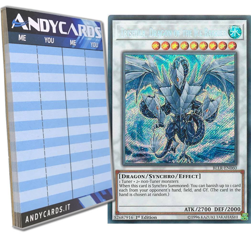 Yu-Gi-Oh! - TRISHULA, DRAGON OF THE ICE BARRIER - Secret BLLR-EN060 in ENGLISH + Andycards Scorepad