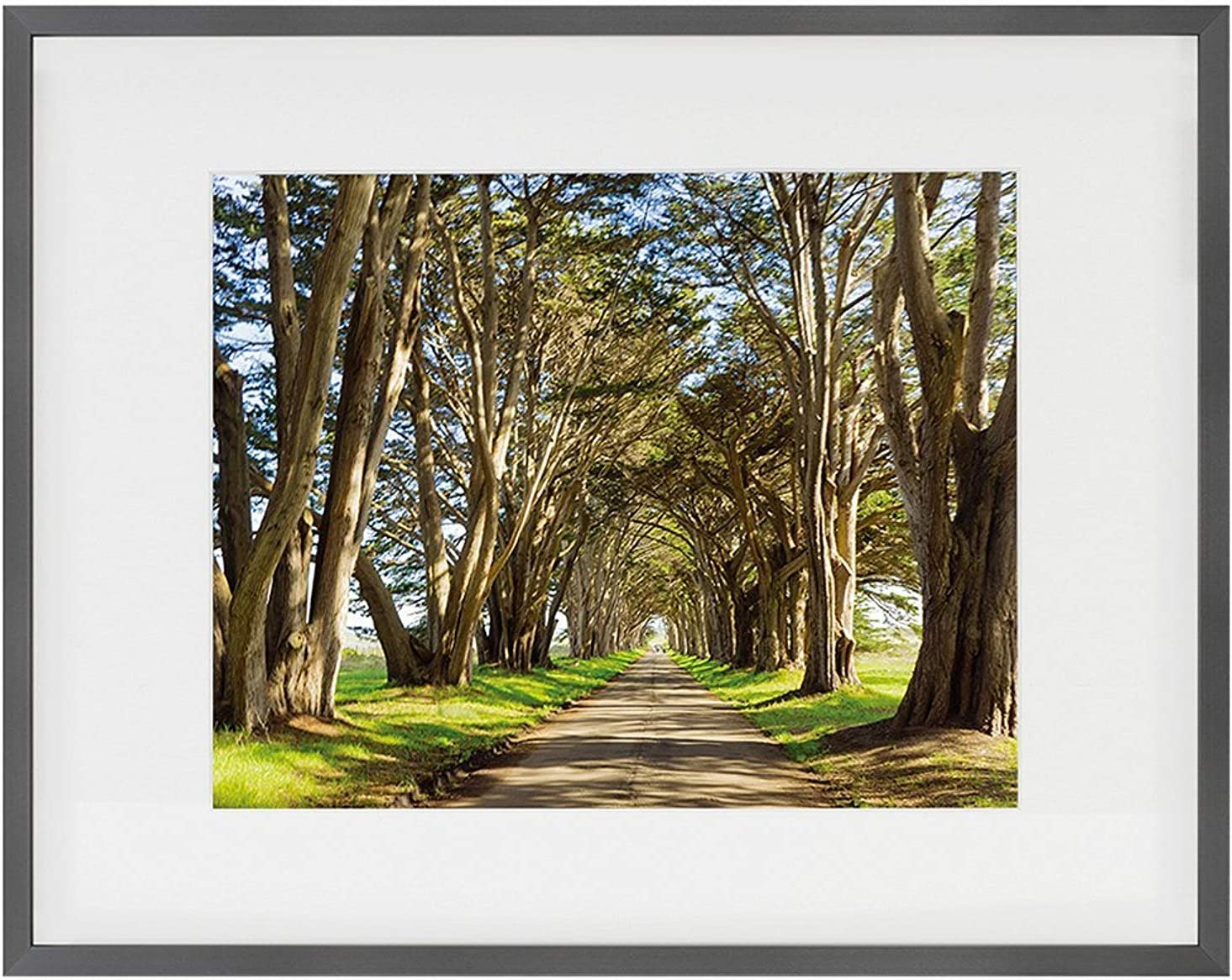 Golden State Art, Brushed Texture Aluminum Picture Frame - Ivory Mat - Wall/Table Display - Real Glass (Dark Grey, 11x14 for 8x10)