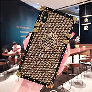 """BABEMALL Compatible for iPhone Xs MAX 6.5"""" Case, Elegant Premium Bling Square Protective with Shock Absorption Metal Decoration Corner Back Case with Crystal Strap (Gold)"""