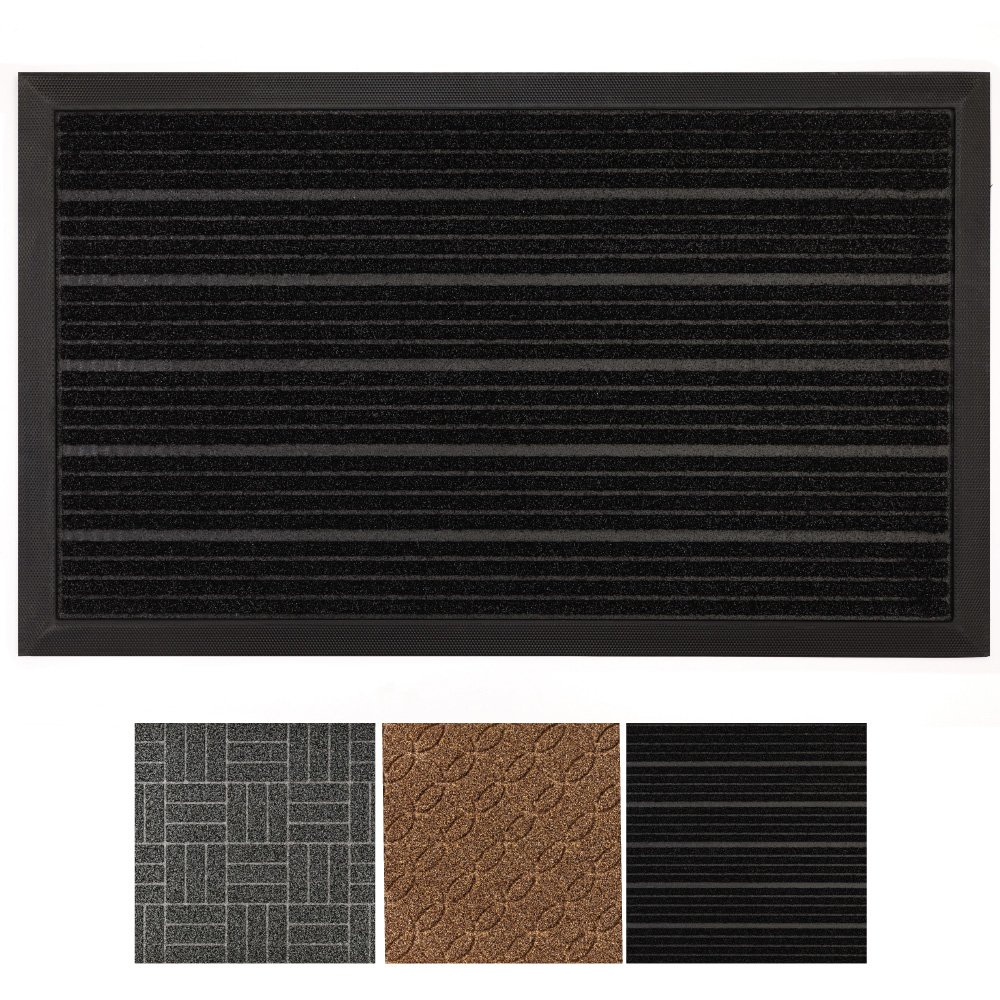 GRIP MASTER Durable Tough All Natural Rubber Indoor Outdoor Door Mat Extra Large 29x17 Boot Scraper Inside or Outside Entryway Front Door Waterproof Low Profile Easy to Clean Black