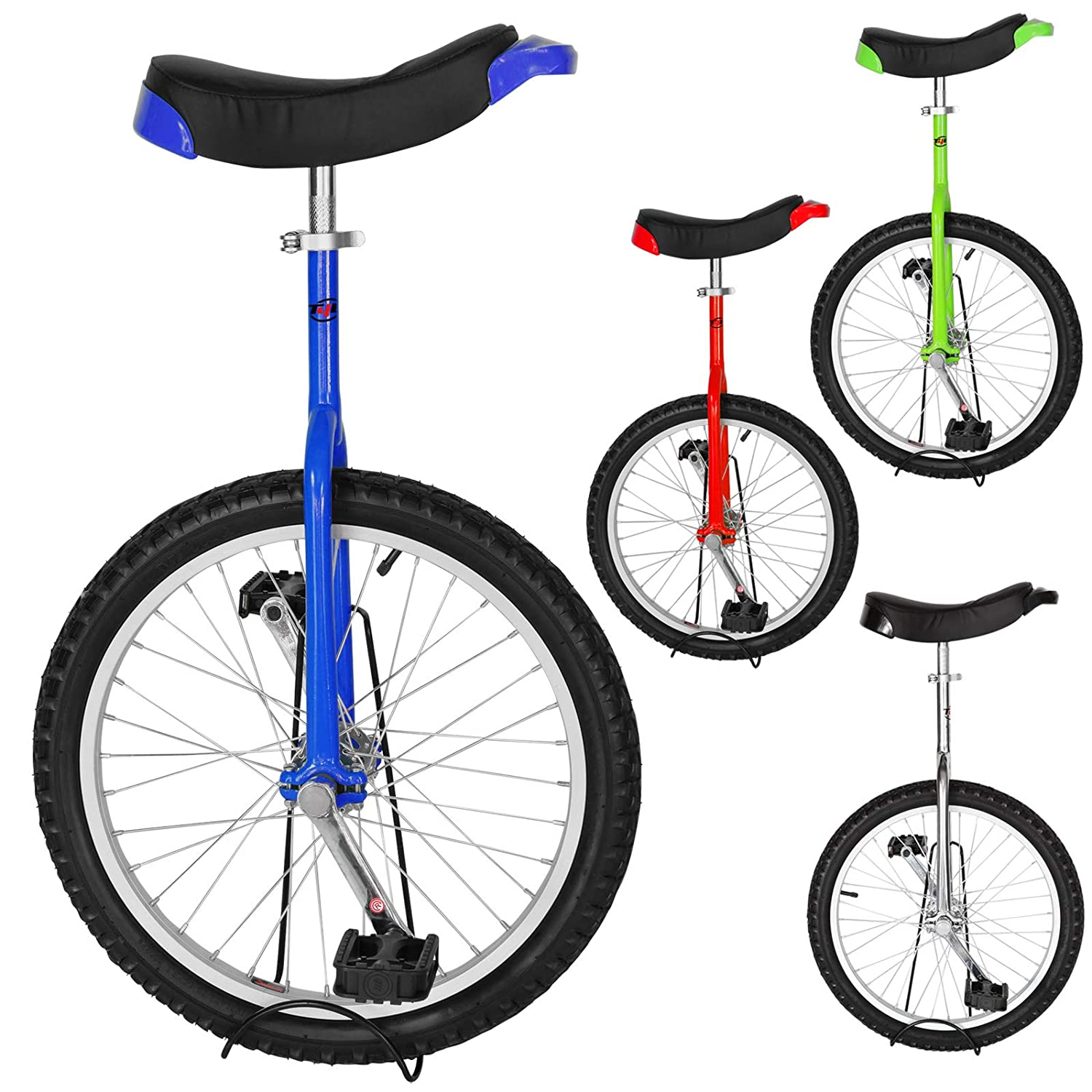 "20/"" Wheel Skid Proof Butyl Tire Unicycle Outdoor Cycling Chrome Frame Exercise S"