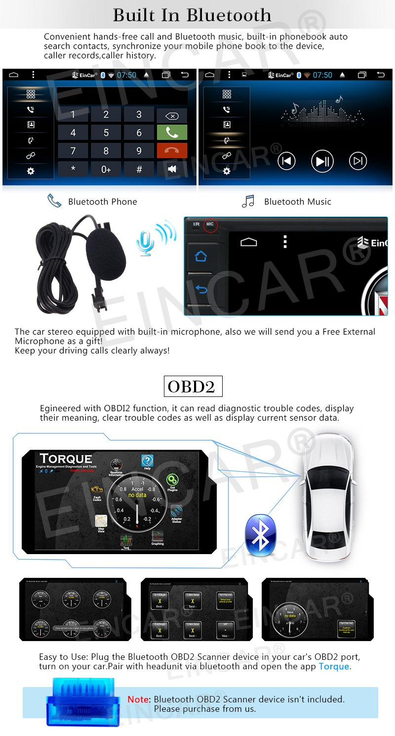 Eincar Double Din Car Stereo,7 Inch Touch Screen Car Radio MP3//MP5//FM Player Supports Bluetooth//USB//TF//AV in with Wireless Remote Control+Colorful Buttons