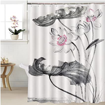 Gzhihine Shower Curtain Lotus Flower Watercolor Painting On Rice Paper Original Art Asian Style Bathroom Accessories