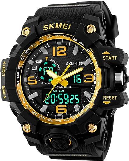 SK1155C - Reloj Digital para Hombre (Esfera Amarilla, Multifuncional, 500 Millones de pulsaciones
