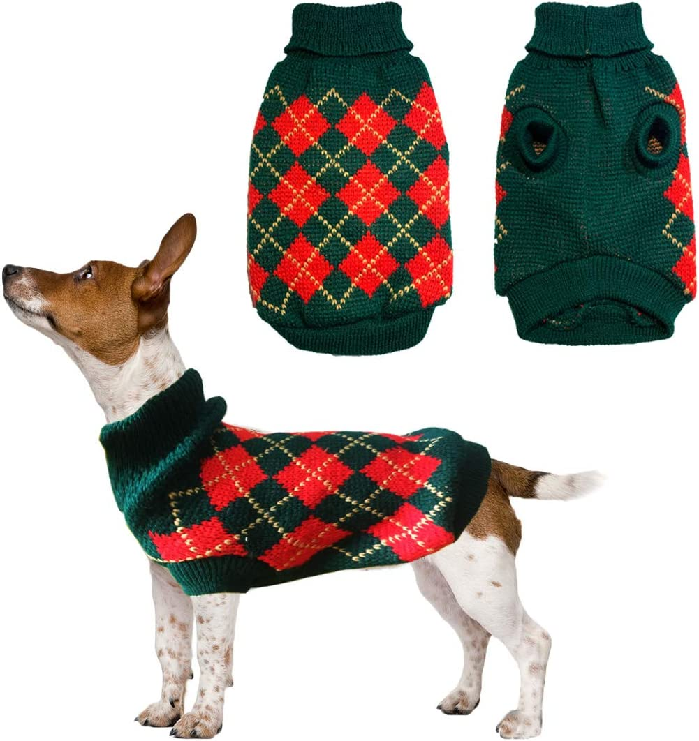 Vehomy Dog Argyle Sweater Pet Diamond Plaid Knitwear Sweater Cat Winter Knitwear Warm Clothes for Small Medium Dog Puppy Kitten and Cat