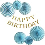 IGRESS 誕生日 飾り付け 特大 ペーパーファン 6個 バースデー ガーランド 装飾 セット (ブルー)