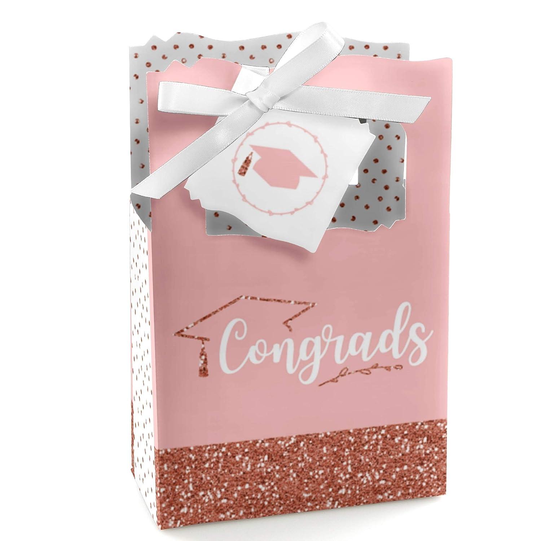 Graduation Party Favor Boxes Rose Gold Grad Set of 12