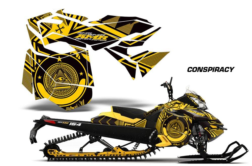 2013 – 2014 Ski Doo Rev XMサミットAMRRACING Sledグラフィックスデカールキット – Conspiracy – イエロー   B016TRIH6G