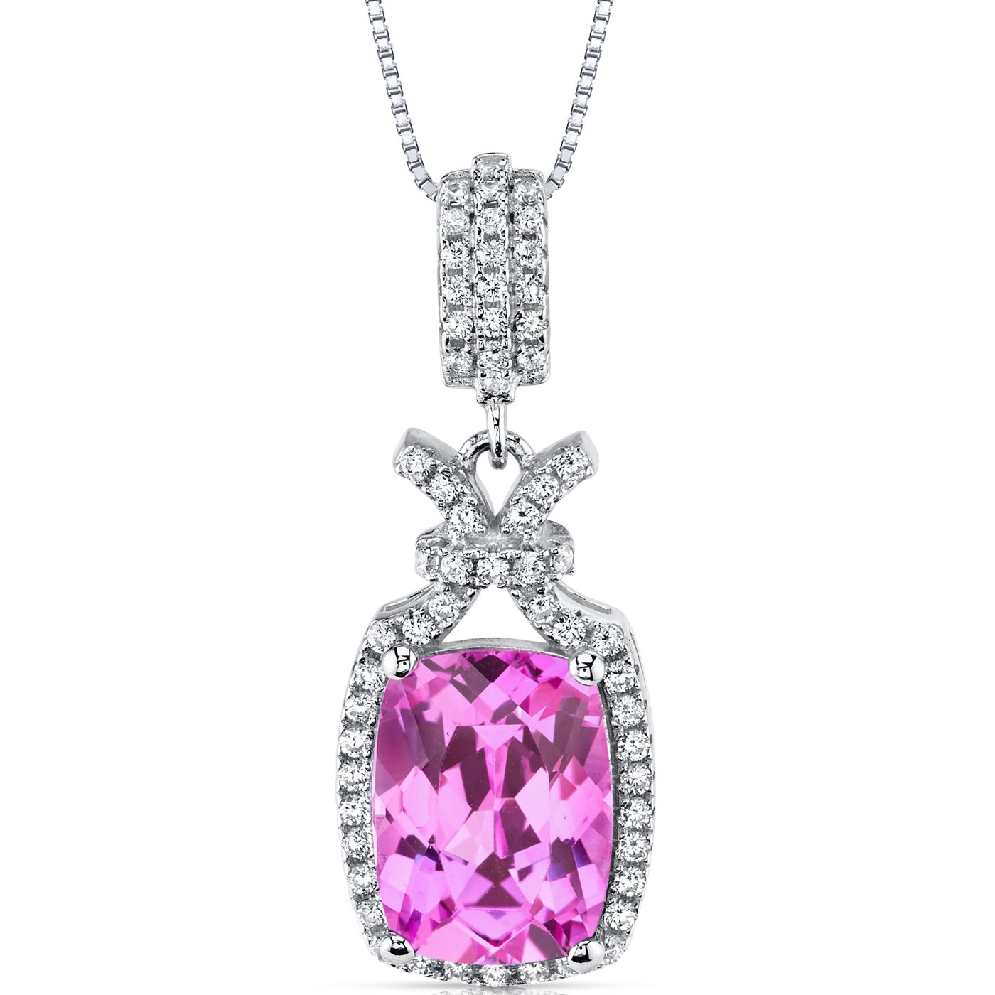 5.00 Carats Created Pink Sapphire Pendant Necklace Sterling Silver Cushion Cut