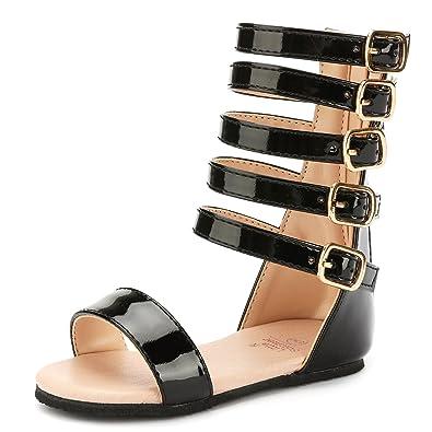 a4e4163978ce UBELLA Toddler Kids Gladiator Sandals Summer Knee High Sandals for Girls  Black