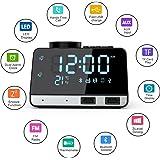 Weixinbuy Radiosveglia Digitale, con Altoparlanti Blutooth, Doppio Allarme, 2 Porte di Ricarica USB per Smartphone, Funzione di Snooze, Supporta Scheda TF, Termometro,Ampio Display LED Dimerabile