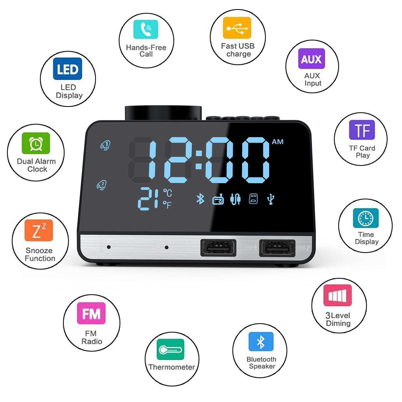 Weixinbuy Radio despertador de Bluetooth Altavoces con despertador doble con 2 puertos de carga USB, repetición, reproducción de tarjeta AUX TF, termómetro, ...