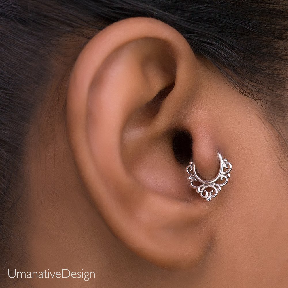 Sterling Silver Tragus Earring, Tribal Indian Hoop Nose Ring Piercing, fits Helix, Cartilage, Daith, Rook, 20g, Handmade Jewelry