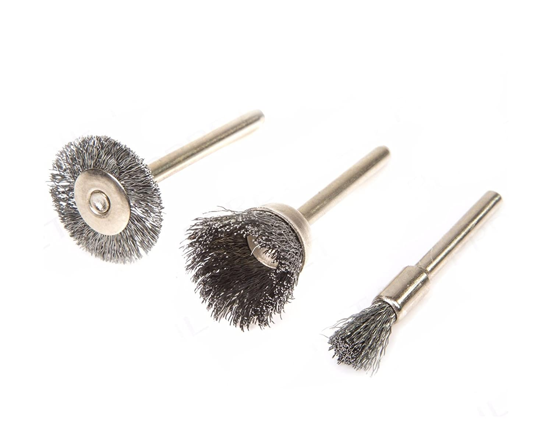 3pc Metal Polishing Steel Set Dremel Rotary Tool Polish Clean Wheel Wire Brush
