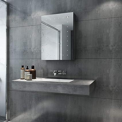 SIRHONA 45x 60cm /Éclair/é LED Cabinet Miroir Cabinet Cadre en Acier Inoxydable Cadre Mur Miroir De Stockage avec Lumi/ères