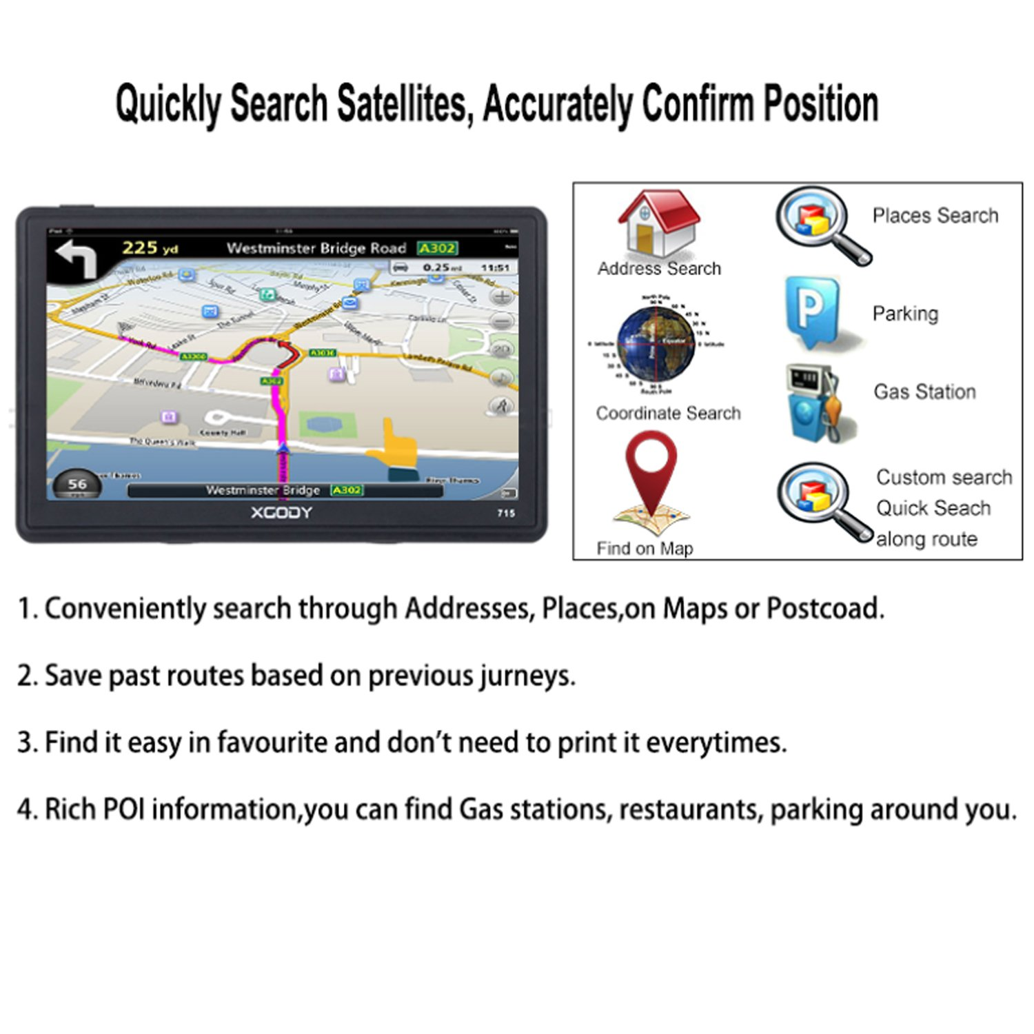 Xgody Portable Truckers GPS with Sun Shade Capacitive Touch screen 8GB ROM 7 Inch Car GPS Navigation System with Lifetime Maps Black