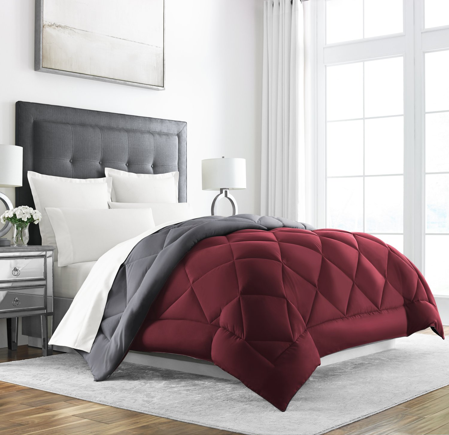 Alternative Comforter - Reversible - All Season Hotel Quality Luxury Hypoallergenic Comforter Burgundy/Grey