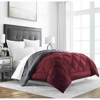 Sleep Restoration Goose Down Alternative Comforter - Reversible - All Season Hotel Quality Luxury Hypoallergenic Comforter -Twin/TwinXL - Burgundy/Grey