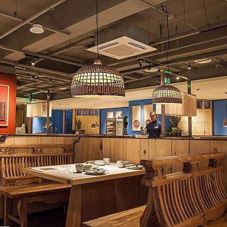 Lanlingwang Vara de Mimbre Hecha a Mano araña de luz pérgola Café Restaurante balcón Pasillo de iluminación de la lámpara de bambú Verde: Amazon.es: Hogar