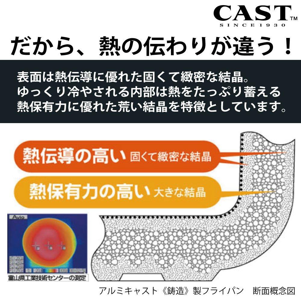 【GAS】キャストスタイルライトフライパン 信頼のテフロン・プラチナ加工 耐久性抜群 金属ヘラが使える 熱伝導が抜群
