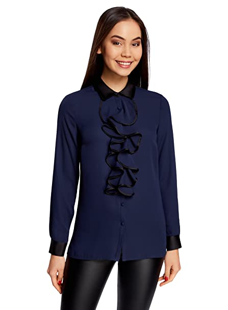 oodji Collection Mujer Blusa con Cuello Escarolado y Acabado en Contraste, Azul, ES 36