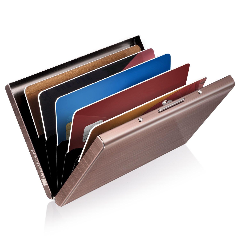 GreatShield Étui Protecteur NFC Ultra Mince | RFID Blocage Porte Carte de Crédit | Portefeuille Pochette en Acier Inoxydable avec 6 Emplacements pour Cartes de Débit, Cartes de Crédit ou Carte d'identité pour Hommes et Femmes (Noir) GS03714