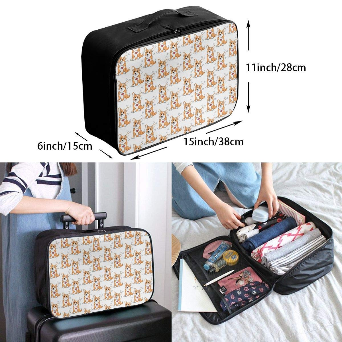 Corgis Funny Dog Design Travel Duffel Bag Waterproof Fashion Lightweight Large Capacity Portable Duffel Bag for Men /& Women JTRVW Luggage Bags for Travel