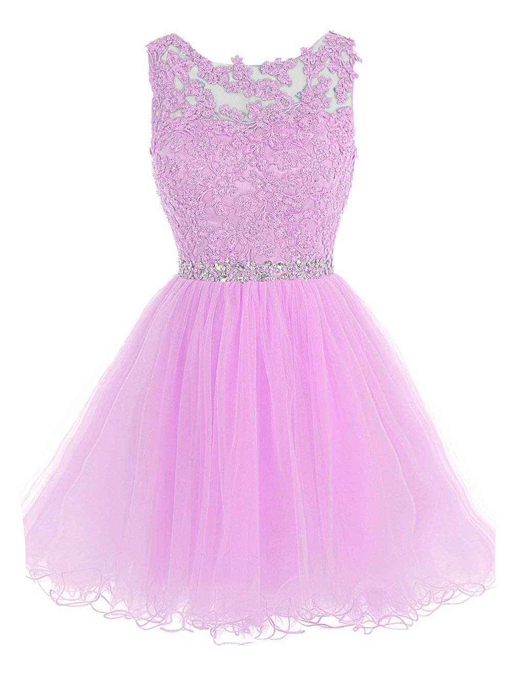 Sarahbridal Women's Tulle Short Homecoming Dresses Applique Lace Prom Gowns Pink US8