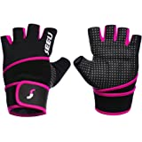 "SEEU Women's Men's Weight Lifting Gloves with 17.5"" Wrist Wrap for WOD, Gym Workout, Cross Training, Fitness 5 colors Size XS-XL (1 pair)"