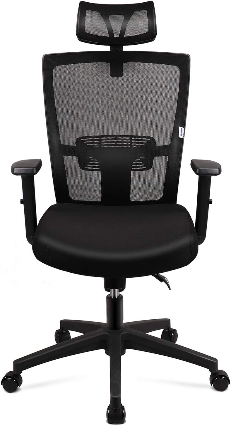 mfavour Office Chair, Ergonomic Mesh Chair with Adjustable Headrest, Armrest and Lumber Support for Home and Office, Tilt Function & Lock Position, Swivel Computer Task Chair (Black)