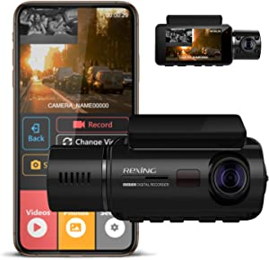 "REXING V3 Basic Dual Camera Front and Inside Cabin Infrared Night Vision Full HD 1080p WiFi Car Taxi Dash Cam with Supercapacitor, 2.7"" LCD Screen, Parking Monitor, Mobile App"