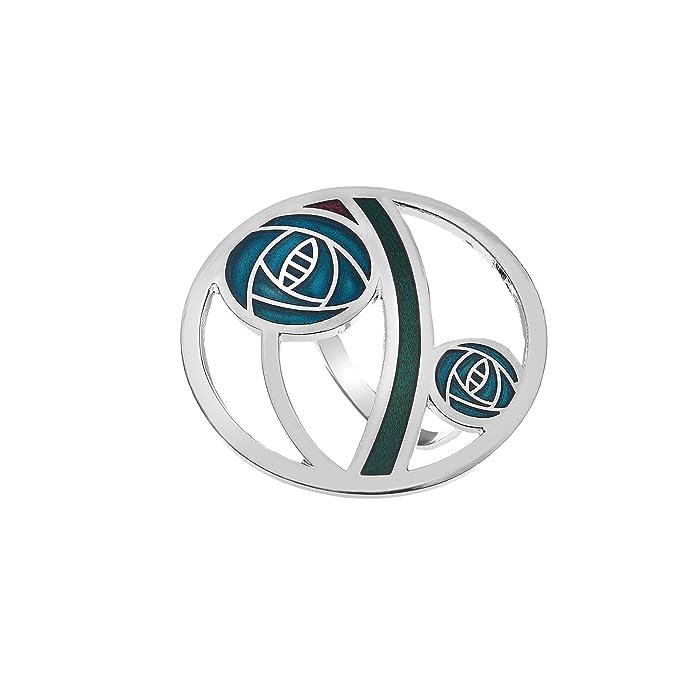 Mackintosh Glasgow Rose Smalto Sciarpa ad anello in Scatola Regalo-Turchese